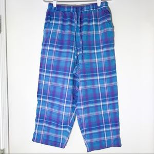 Blue plaid pajama bottoms